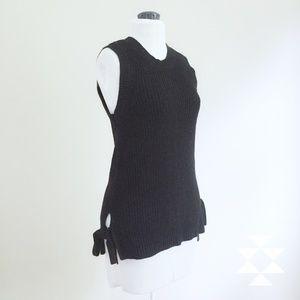 LOFT Black Sleeveless Sweater Top M